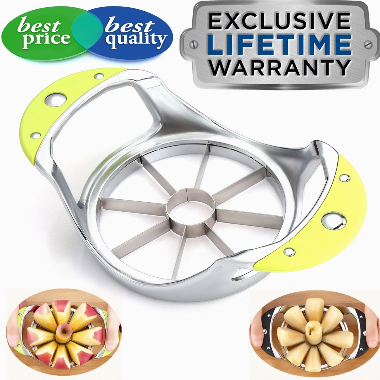 Apple Slicer Apple Corer Slicer Blooming Onion Cutter Pear Divider wedger stainless steel metal core remover for larger apples decorer tool kitchen gadgets (Green)