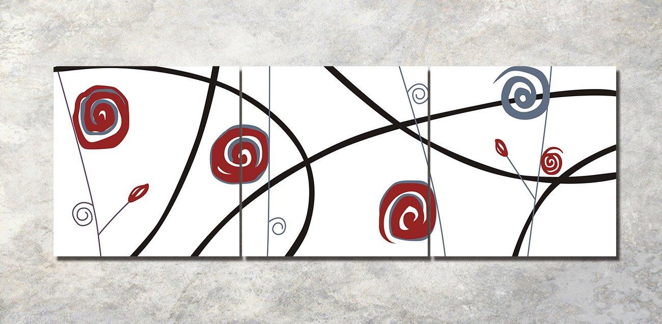 LB Albero Geometrico Europeo Nero Bianco/_Quadro su Tela Decorazione Domestica,3 Pannelli,40 x 40 cm,con Cornice