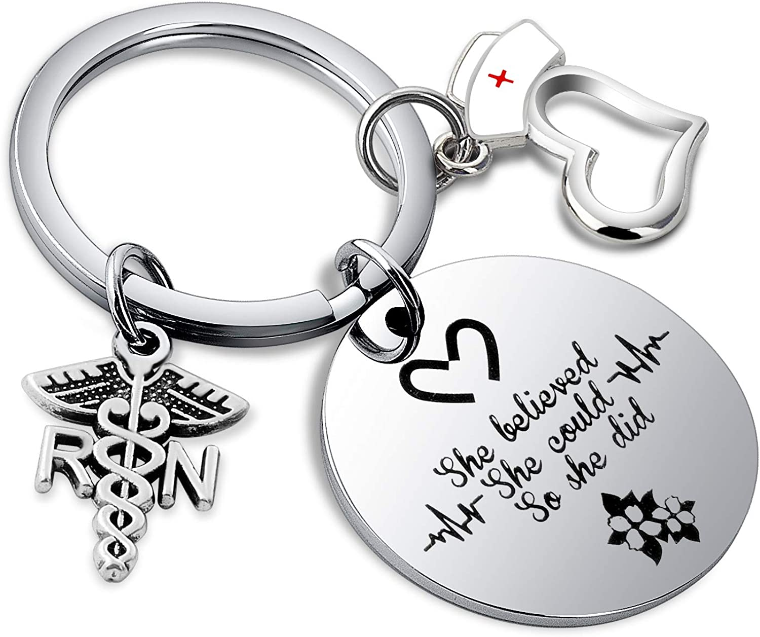 FUTOP RN Gifts Nurse Graduation Gift She Believed She Could So She Did Keychain Medical Student Gift for Nurse