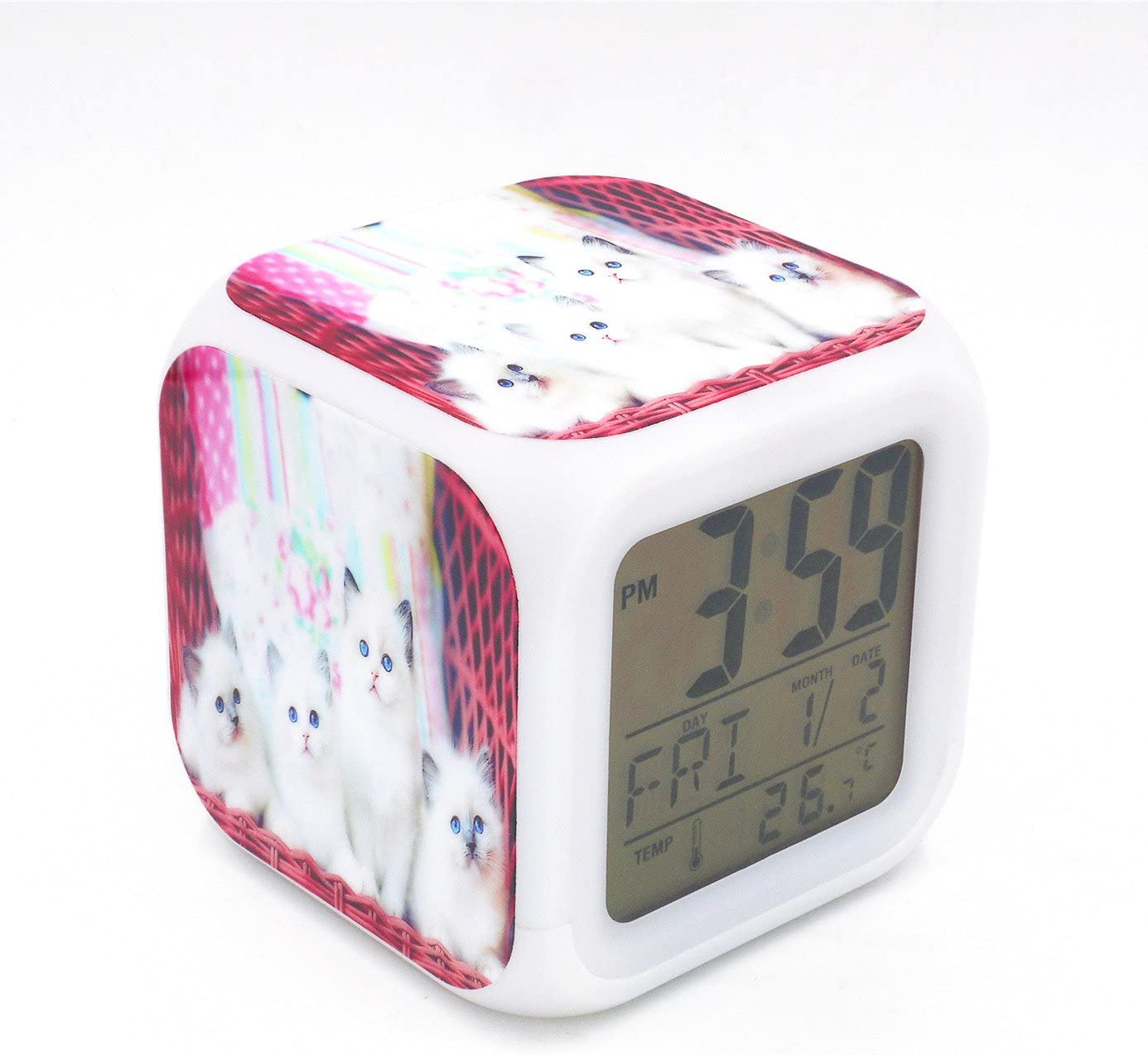 BoFy Led Alarm Clock Ragdoll Cat Kitty Pattern Personality Creative Noiseless Multi-Functional Electronic Desk Table Digital Alarm Clock for Unisex Adults Kids Toy Gift