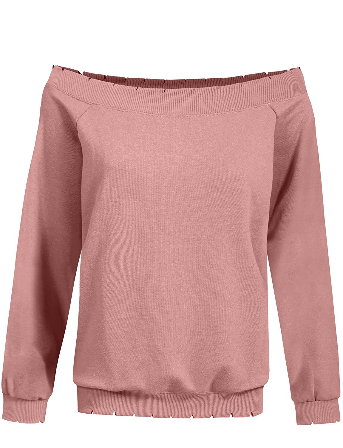 a4ef91dd970ec4 NE PEOPLE Womens Long Raglan Sleeve Open Shoulder Lightly Distressed Ribbed  Top at Amazon Women s Clothing store