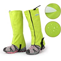 Overmont Snow Boot Gaiters Legs Cover Guard Protection Keep Warm Windproof Waterproof for Winter Snowboard Hiking Walking Skiing Climbing Outdoor Sports Size M/L Black/Green