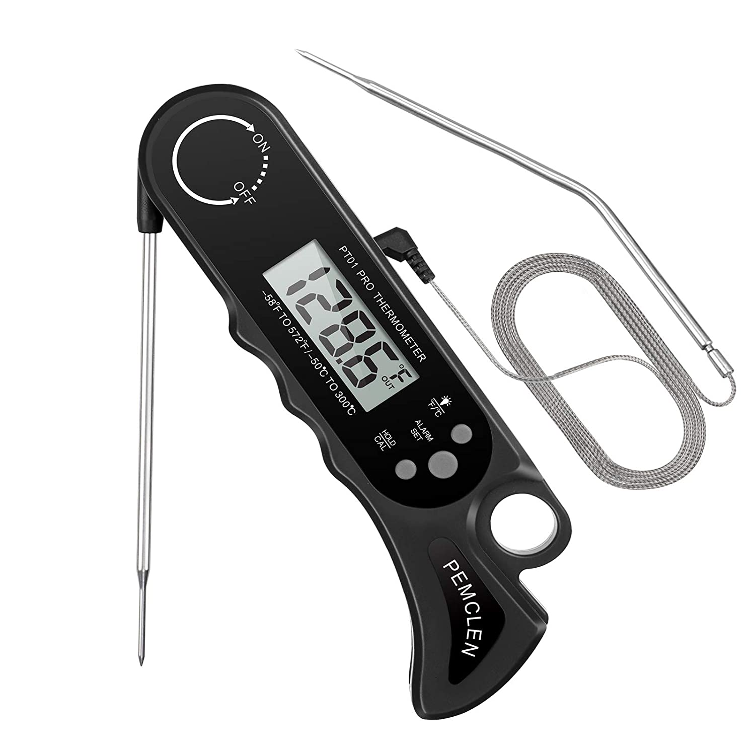 Meat Thermometer, PEMCLEN Digital Instant Read Food Thermometers Oven Safe Meat Thermometer with Dual Probe, Backlight, Alarm for Grill Cooking Kitchen Smoker BBQ Food Candy (PT01 Black)