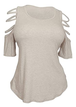 c2224e97178 eVogues Plus Size Ribbed Cut Out Short Sleeve Top Taupe at Amazon ...