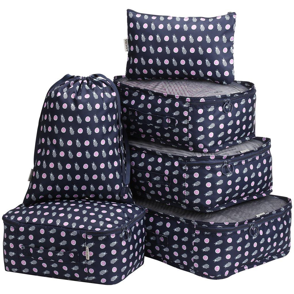 LANGRIA Set de 6 Sacoches de Rangement pour Bagage Organisateurs de Valise Imperméables Légers avec Fermeture Éclair et Poignée de Transport Pratique pour Voyages Homme Femme (Bleu Marine, Ananas) PPKD7UQH-XCSTDE-F