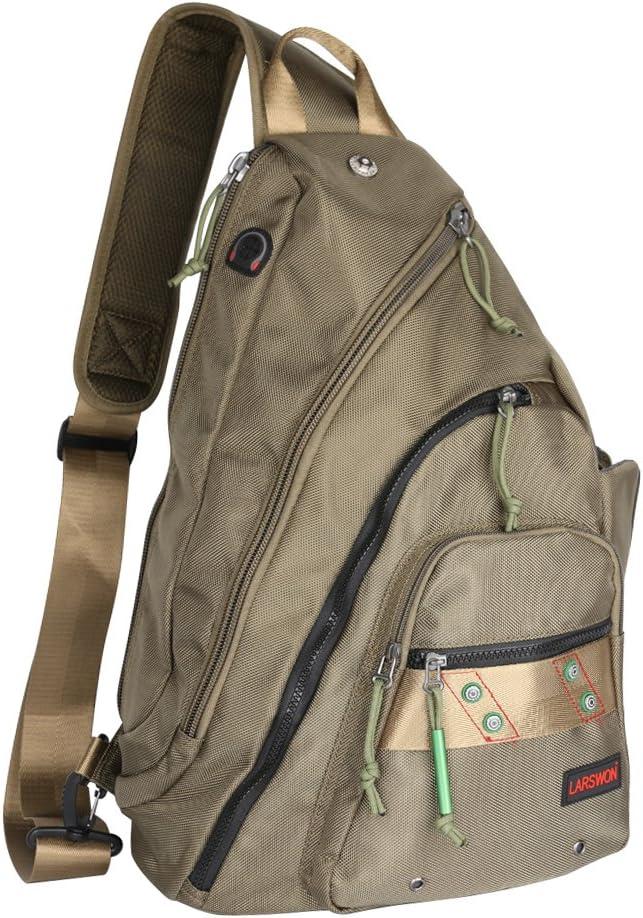 Larswon Sling Backpack, Sling Bag Laptop, Crossbody Bag Men, Shoulder Bags Green