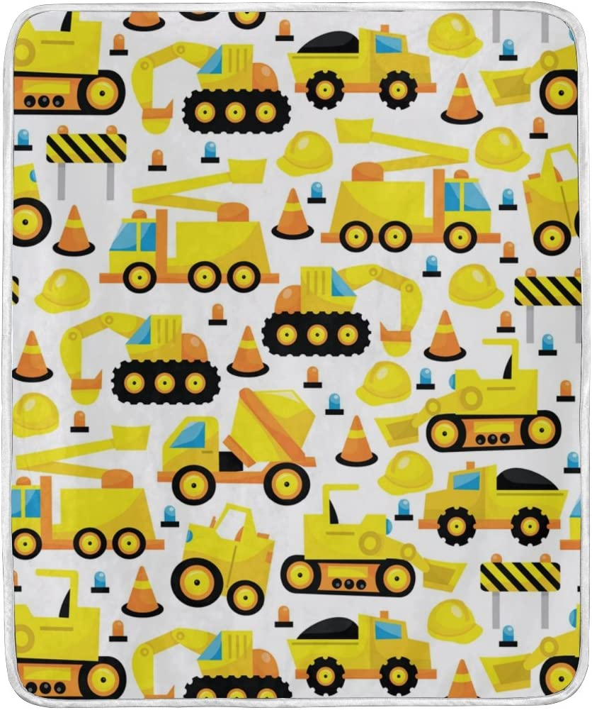 ALAZA Construction Truck Plush Throws Camping Selling and selling Flee Travel Siesta 5% OFF