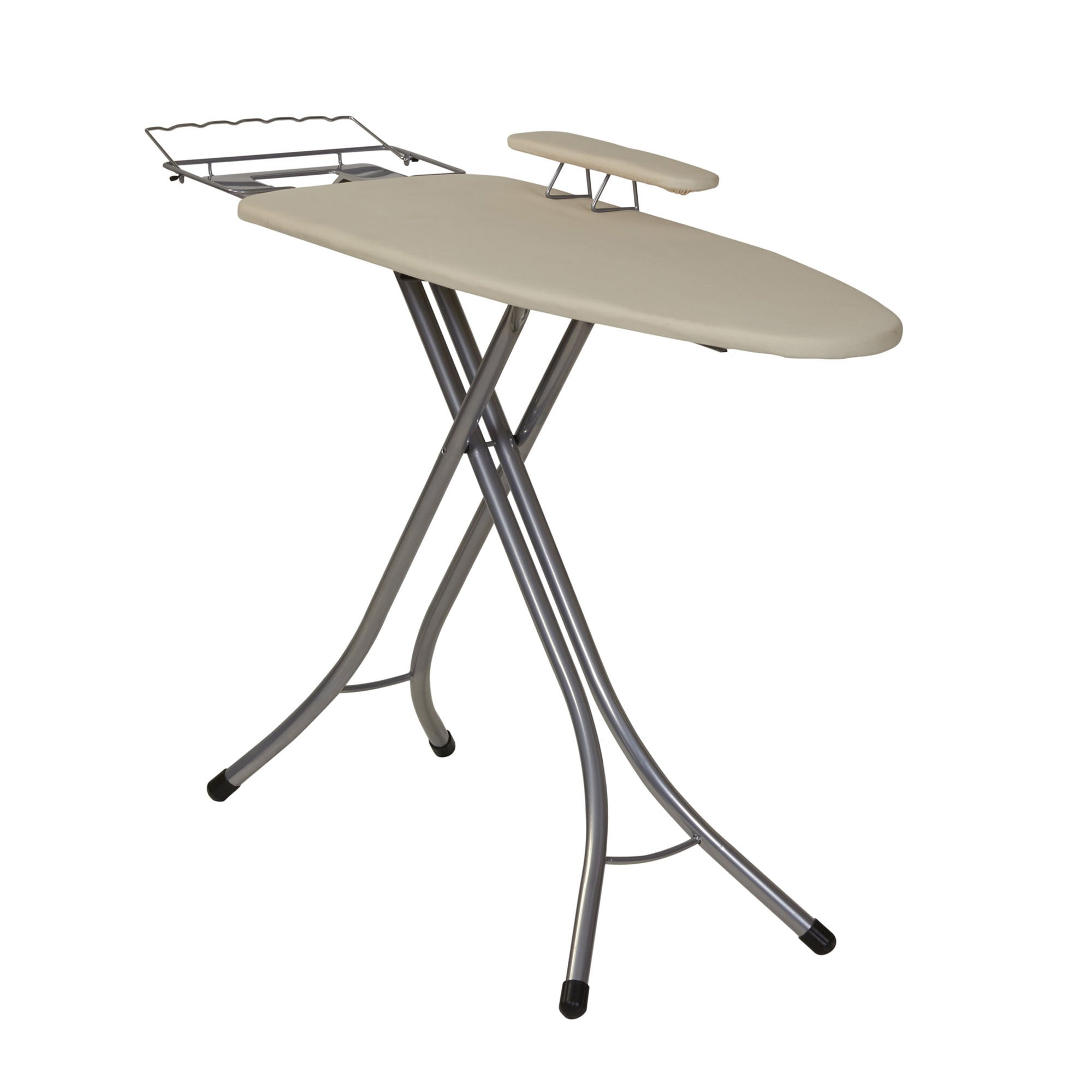 Household Essentials 971840-1 Wide Top 4-Leg Mega Ironing Board with Adjustable Height and Bonus Sleeve Board | Natural Cotton Cover