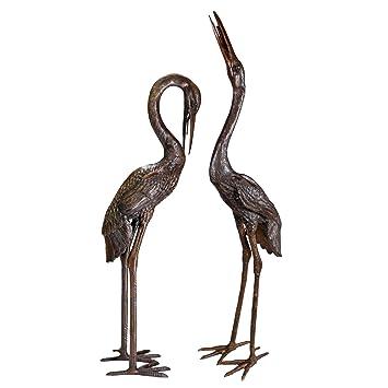 Superior Design Toscano Cranes Garden Statue Set, Large, Cast Bronze