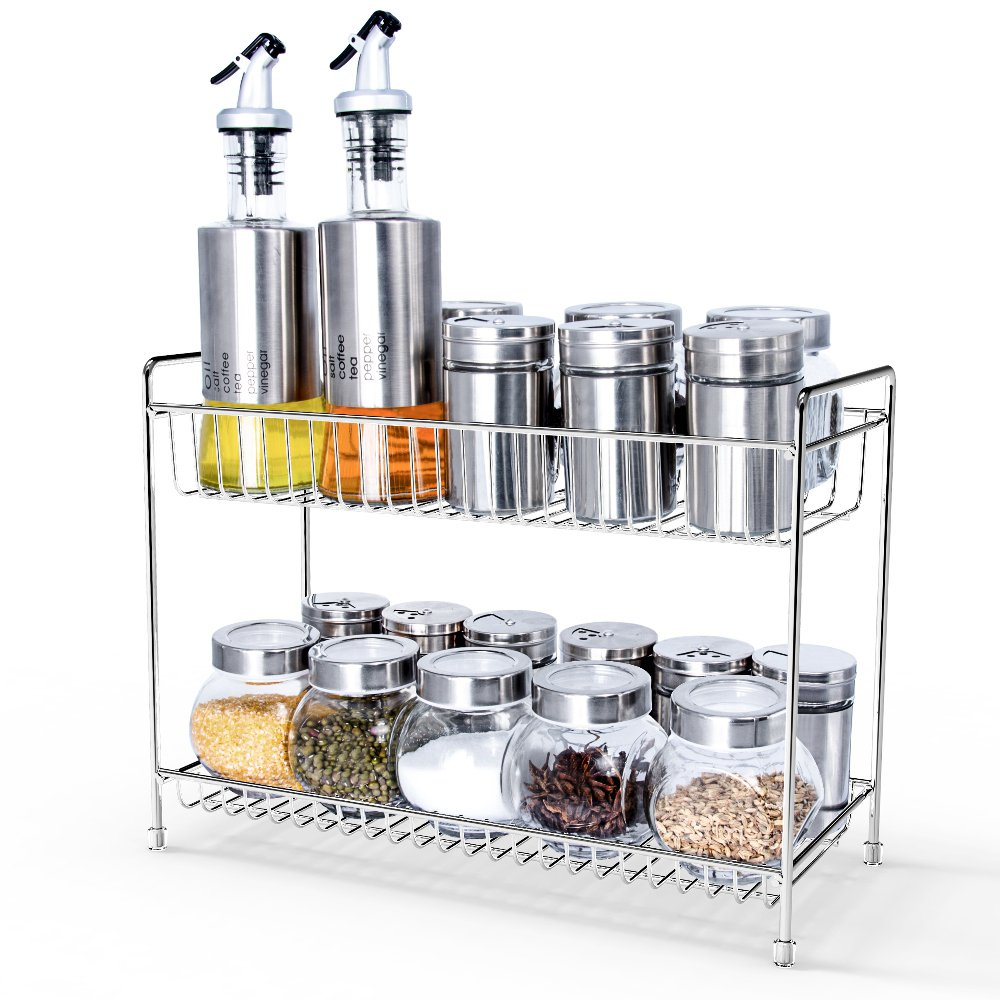 2-Tier Spice Rack Ace Teah Kitchen Bathroom Standing Compact Storage Organizer Spice Jars Bottle Rack Shelf Holder 2 Tiers Stand Stable - Chrome