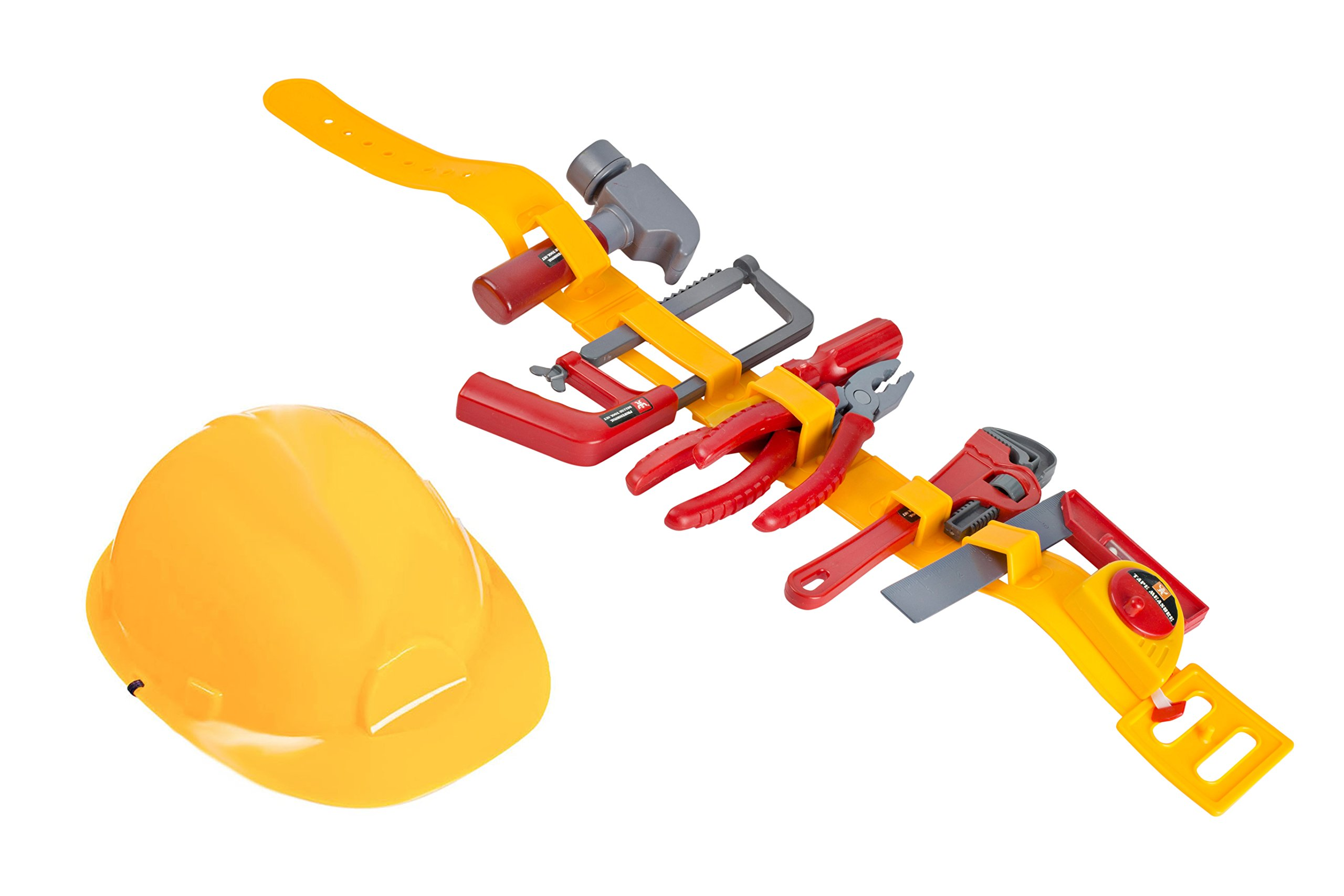 Kids Tool Toy - Pretend Play Childrens Tool Belt Set with Hard Hat, Tape Measure and Toy Hand Tools by Big Mo's Toys