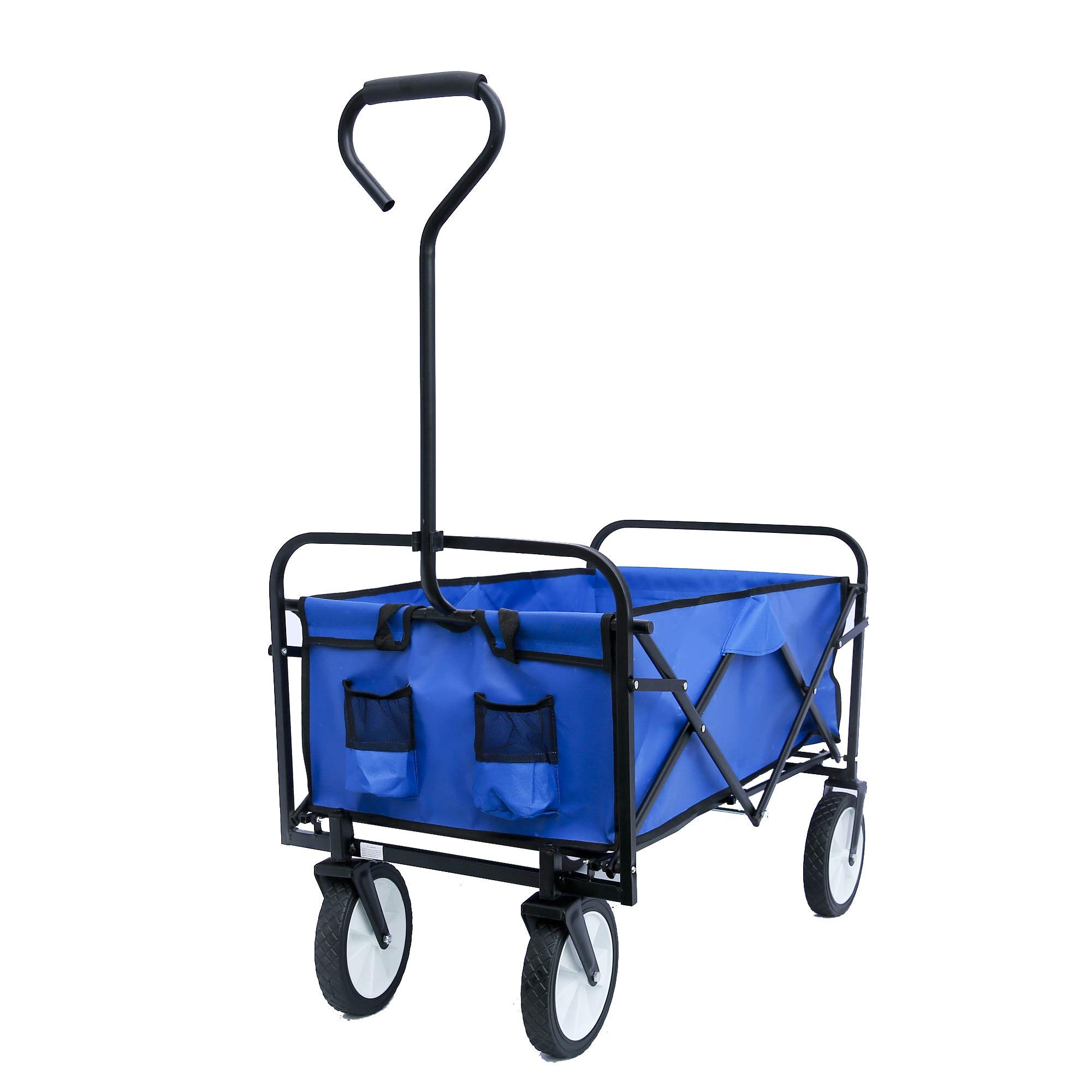 ALI VIRGO Collapsible Outdoor Utility Wagon, Heavy Duty Folding Garden Portable Hand Cart, with 8'' Rubber Wheels and Drink Holder Suit for Shopping and Park Picnic, Beach Trip and Camping, (Blue) by ALI VIRGO
