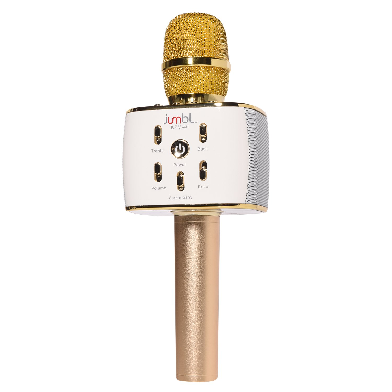 Jumbl Karaoke Microphone with Bluetooth Wireless Speaker Rechargeable Mini Handheld MIC KTV Machine Supports iOS and Android Smartphone iPad Tablet
