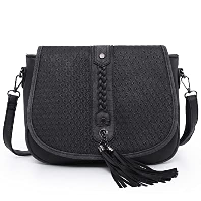 17e87b0a0e Women's PU Leather Shoulder Bag Vintage Braided Tassels and Embossing Cover  Crossbody Bag Travel Big Sanddle Bags
