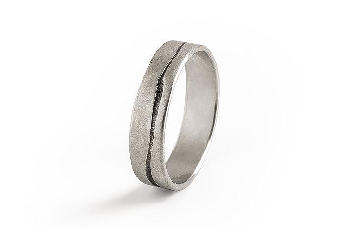 Amazoncom Men Grooved Ring Mens Wedding BandSterling Silver