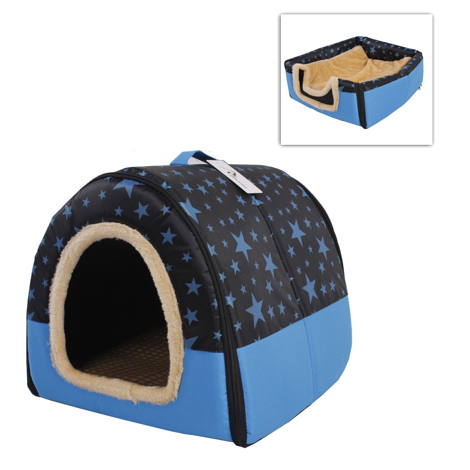 PET SHINEWINGS Collapsible Portable Soft Sided Plush Pet Dog Cat House Kennel Size L