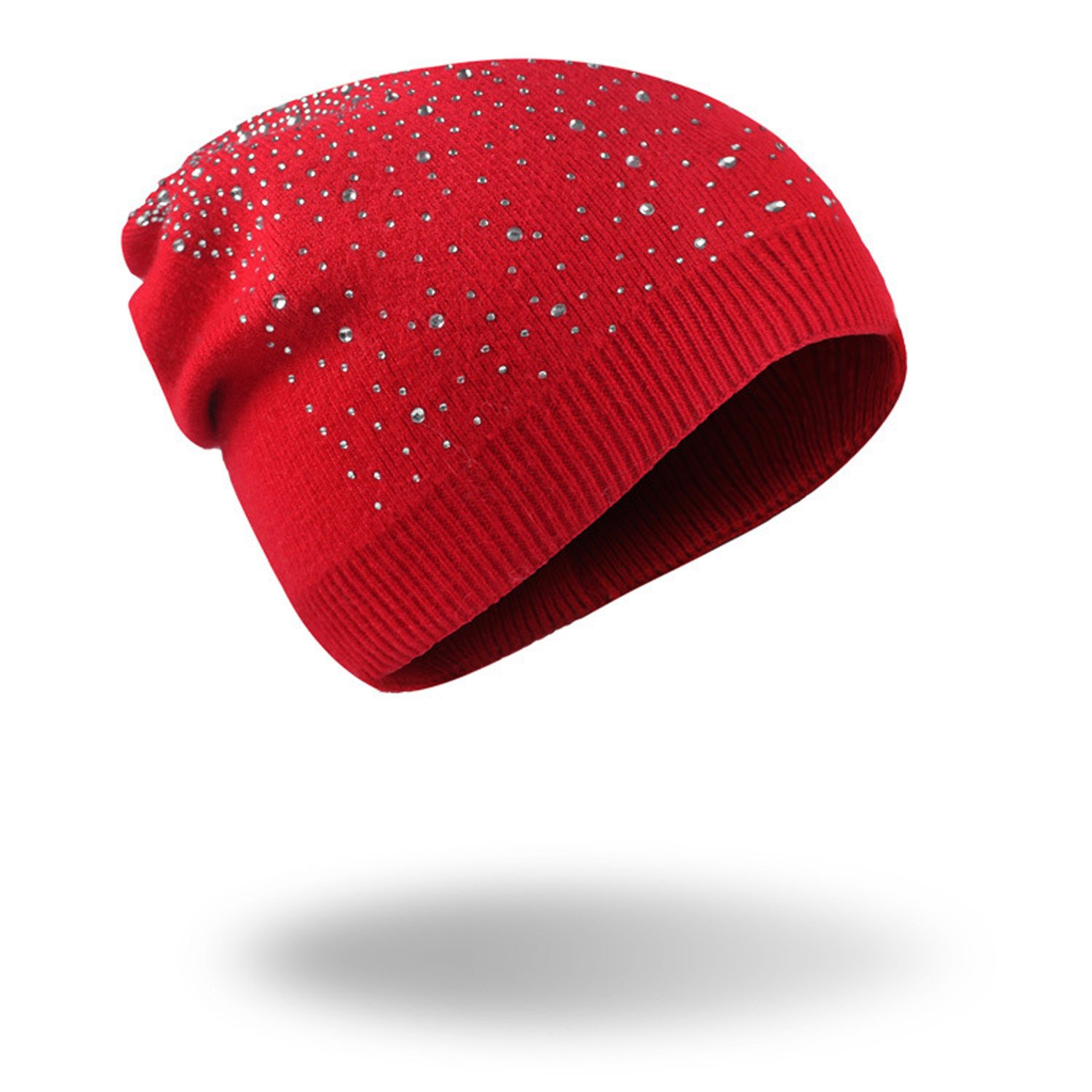 Womens Winter Hats With Rhinestones Fashion Outdoor Warm Knitted Beanie Hat