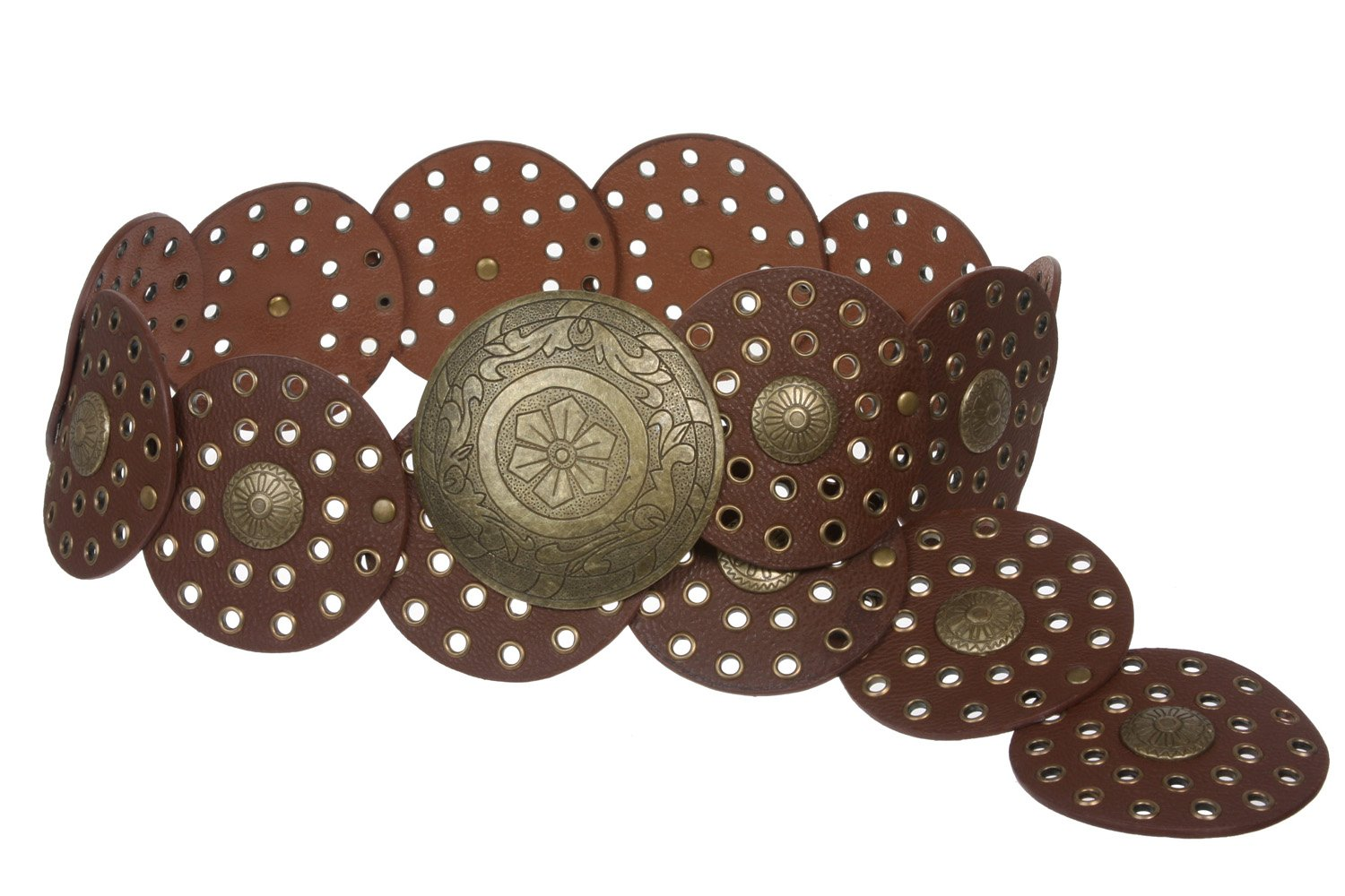 3 1/2'' (90 mm) Wide Ladies Wide Boho Disc Concho Leather Belt, Tan | XL - 48 END-TO-END by beltiscool