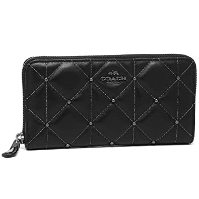 4681b64667eb Coach Quilted Leather Accordion Zip Wallet Clutch F15763 Black ...
