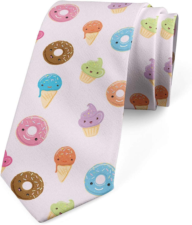 Pale Peach Multicolor 3.7 Cupcakes Ice Cream Donuts Lunarable Mens Tie