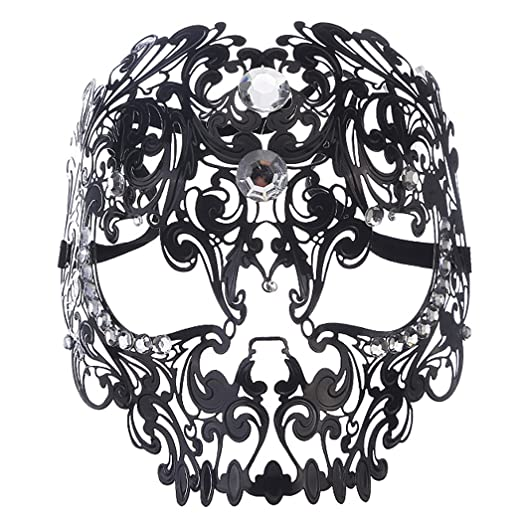 Sexy Skull Face Masquerade Masks Mardi Gras Costumes With Rhinestones Black