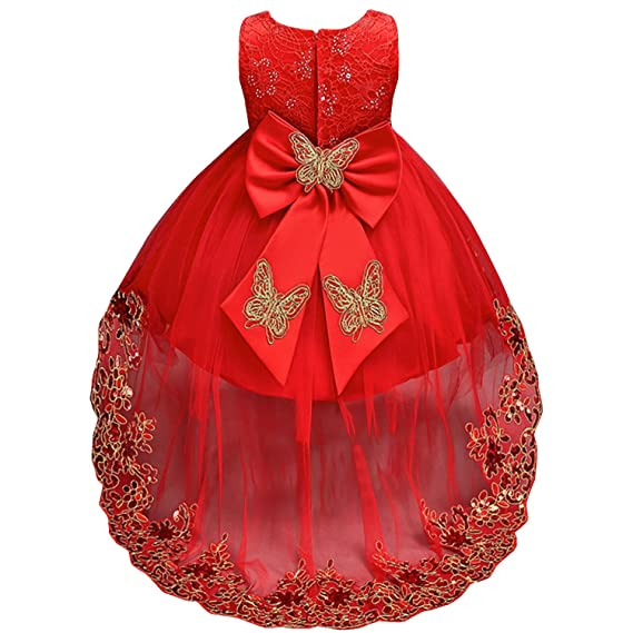 Amazon.com: IBTOM CASTLE Kids Baby Flower Girl Bow Princess Dress for Girls Party Wedding Bridesmaid High Low Evening Gown: Clothing