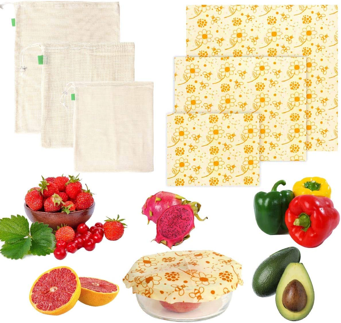 Reusable Beeswax Food Wrap | 3 Pack Bees Wax Wraps With 3 Pack Produce Bags | Eco Friendly Sustainable Wrappers | Beeswax Wrapping Paper |Zero Waste Food Storage| Alternative To Plastic Bag
