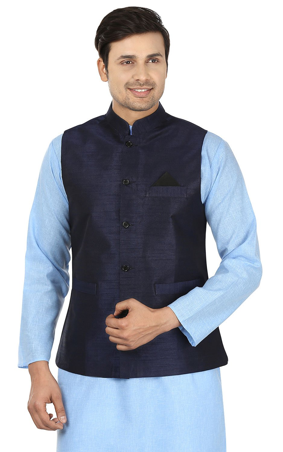 Maple Clothing Men's Silk Traditional Indian Nehru Jacket Sleeve Less Waistcoat (Blue, L)