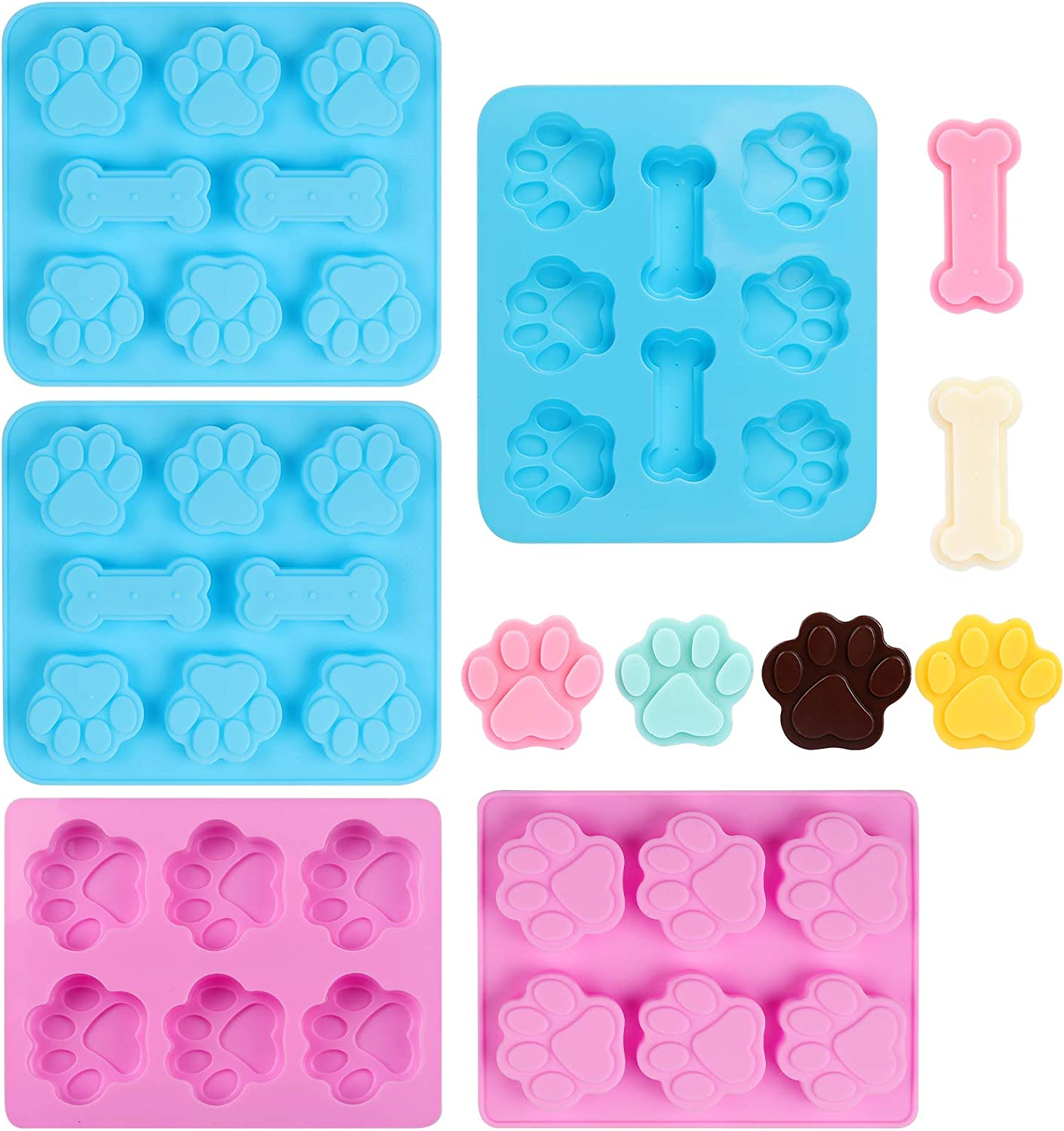 FIRETREESILVERFLOWER Dog Paw And Bone Shaped Silicone Mold, Non-Stick Food Grade, Reusable Silicone Mold For Chocolate, Candy, Cupcakes, Pudding, Jelly, Puppy Biscuits (5 PCS)