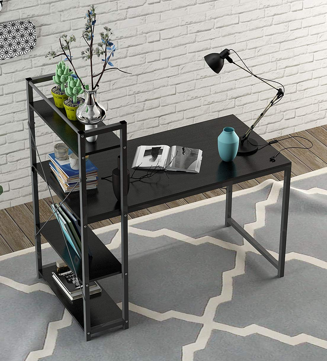 Computer Desk,Modern Style Office Desk with 4 Tier Bookshelves Workstation,Home Wood & Metal (Black)