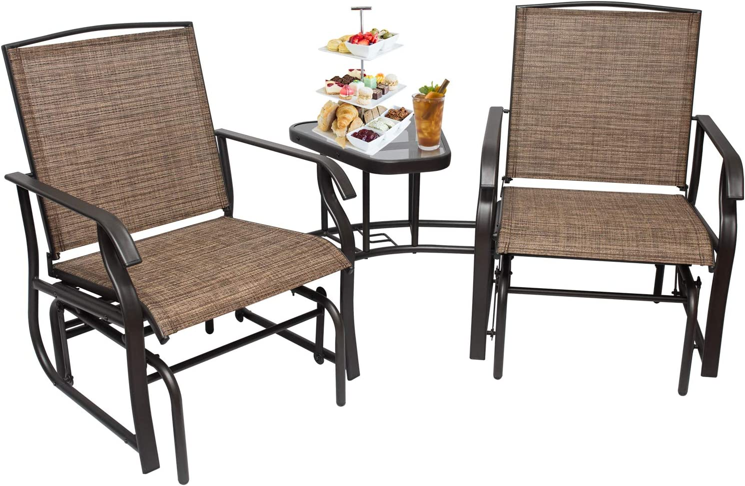 2-Person Outdoor Swing Glider Rocking Chair Patio Loveseat with Table, Patio Furniture Sets with Umbrella Hole for Garden, Porch,Backyard, Poolside, Lawn, Balcony (2 Person Chair)