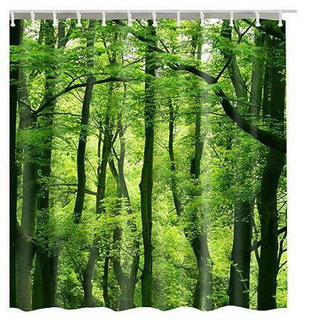 Tropical Rainforest Trees Bath Curtains Waterproof Polyester Shower Curtain 180cm X 200cm