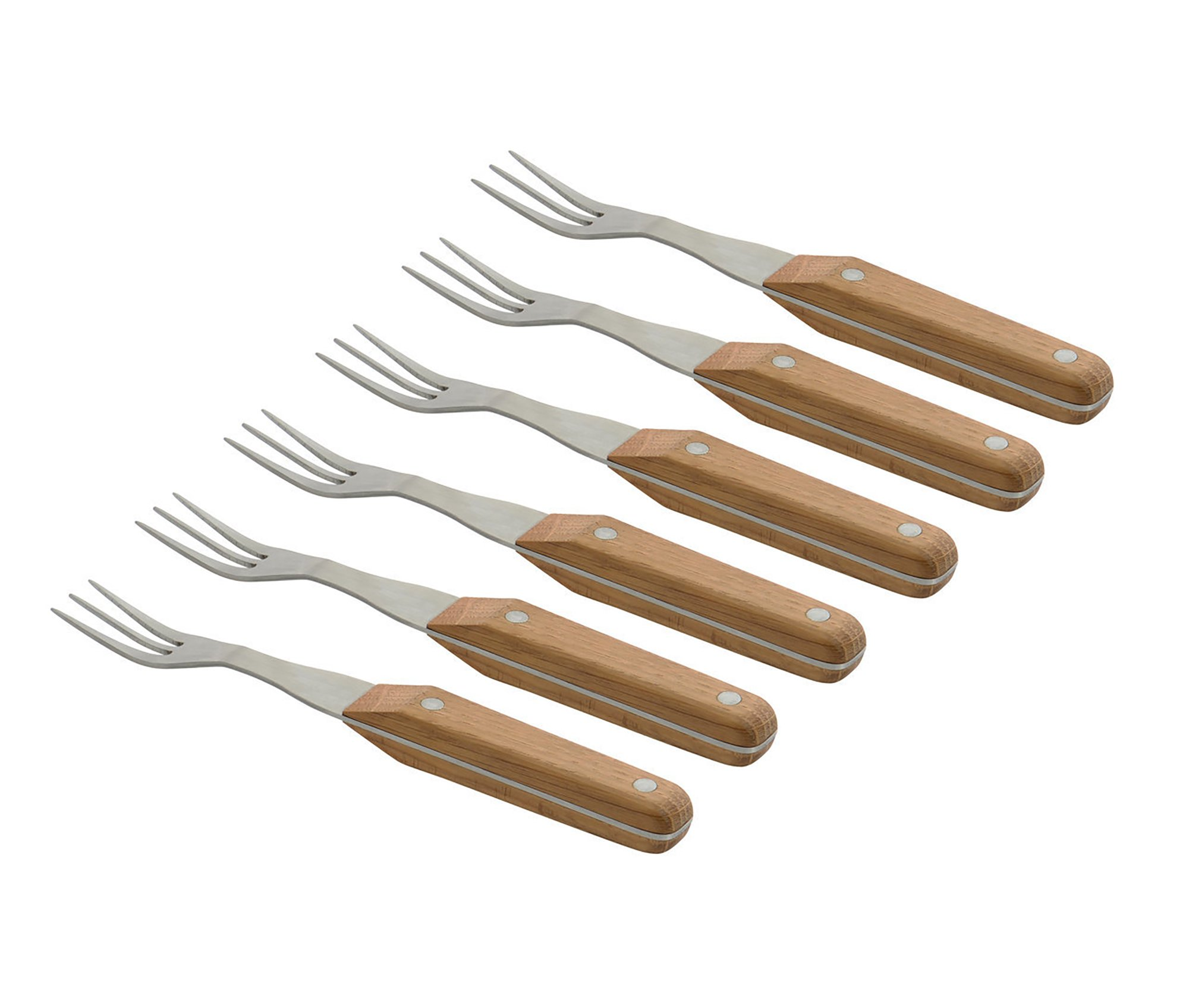 Berghoff Collect & Cook Steak Fork (6X), Stainless Steel Wooden Handle - Perfect Holding Meat, Fish, Pork