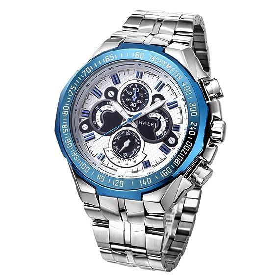 Reloj de los deportes de Mens WWOOR no mecánicos de los relojes de manera impermeable del reloj de Luminous (azul): Amazon.es: Relojes