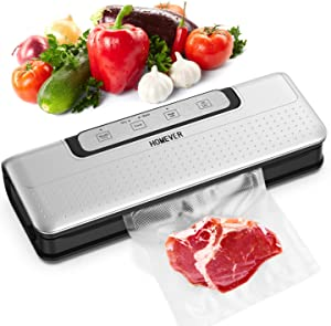 Vacuum Sealer Foodsaver, HOMEVER Automatic Food Saver Machine With Dry Moist Mode For Food Preservation | Compact Starter Kit For Sous Vide | LED Indicator | Easy to Clean (20 Sealing Bags)