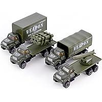 DSstyles Juego de 4 1:64 Vehículos Militares Camiones