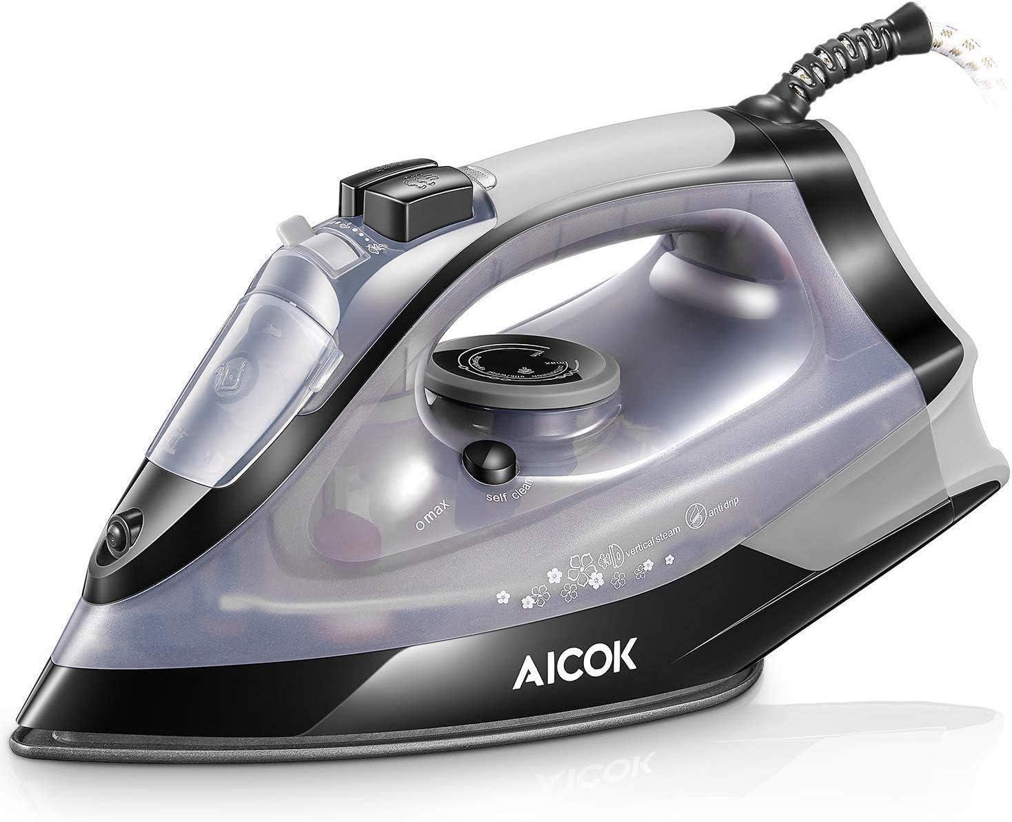 AICOK Plancha Ropa, Plancha de Vapor 2500W con Anti-Escala, Revestimiento Ceramic Coat, Anti Goteo, Auto Limpieza, 5 Modos de Control de Temperatur (Choque de Vapor y Vapor Vertical 180g/min), 300ml