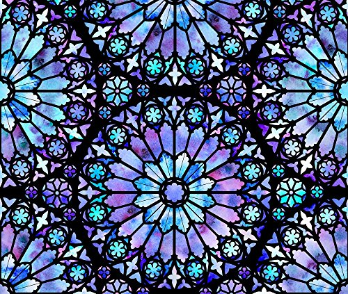 Stained Glass Fabric - Painted Rose Windows (Blue - Large) - Designed By Logan_Spector - Fabric Printed By Spoonflower On Cotton Poplin Ultra Fabric By The Yard - Stained Glass Fabric