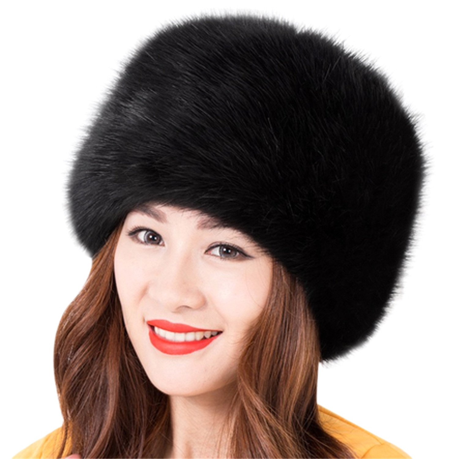 03515486332ccc Amazon.com : Miki Da Unisex NEW Winter Warm Faux Rabbit Fur Hat Russian  Style Mens Womens Cossack Caps Fluffy Beanies Mink Fur Skullies 08 : Sports  & ...