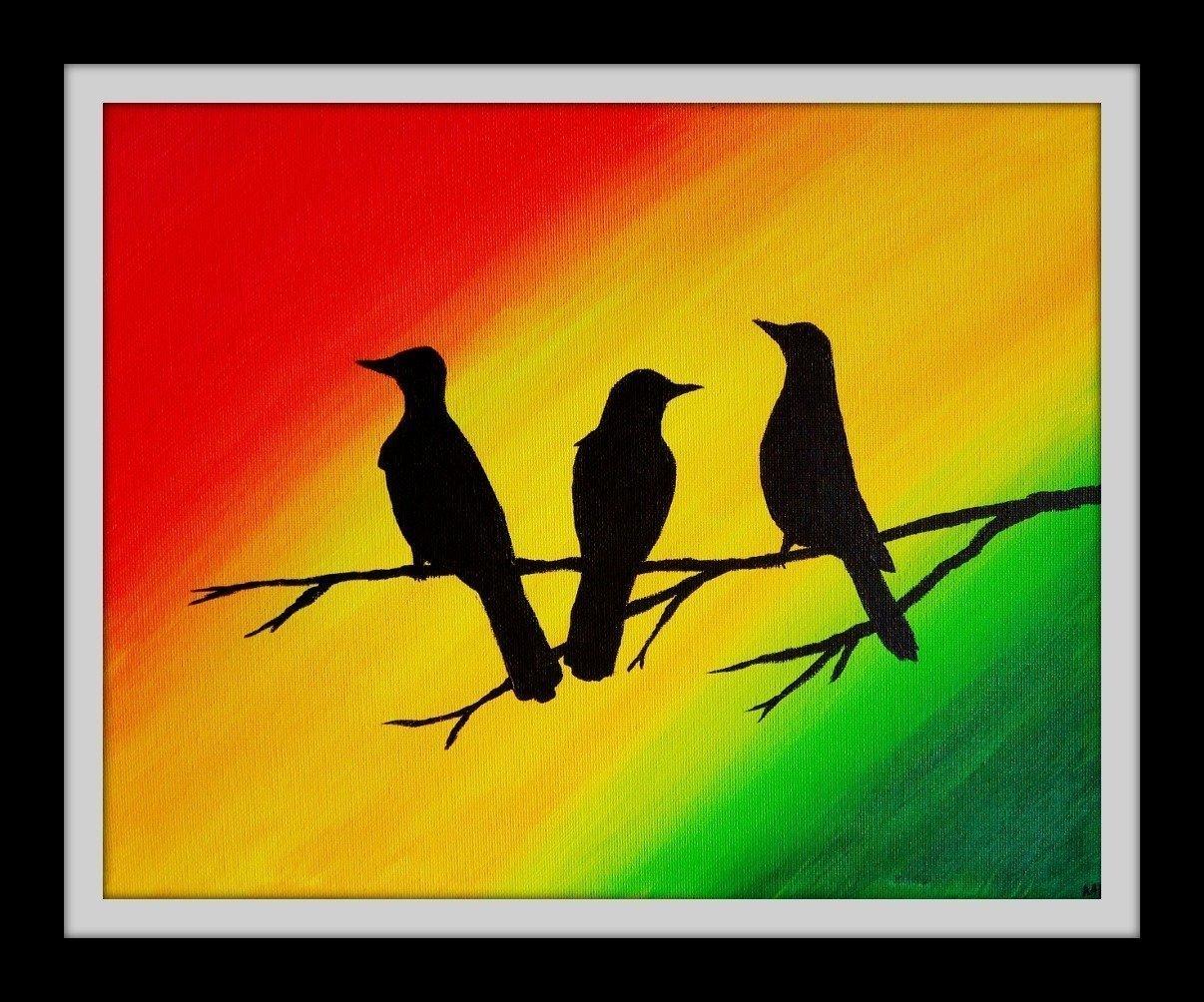 Amazon.com: Three Little Birds 9x12 Inch Wall Art Print Rasta Colors ...