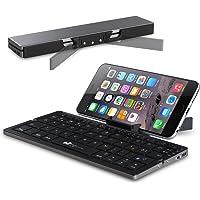 Faltbare Bluetooth Tastatur EC Technology Portable Kabellose Wireless Mini Keyboard mit Stand Ultra kompakt Wiederaufladbar, Farbe - Schwarz