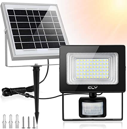 CLY Foco LED Solar con Sensor de Movimiento, Foco Solar LED Exterior, Luz Solar 60LED 6500K 400Lumens IP66 Impermeable, para Jardín, Patio, Garaje, Camino, Terraza