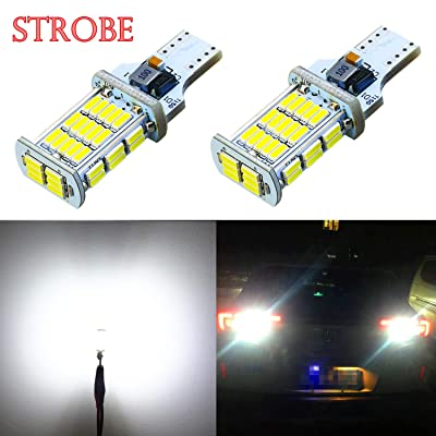Alla Lighting 2600lm 912 921 LED Strobe Bulbs CAN-BUS Xtreme Super Bright 4014 48-SMD W16W T10 T15 921 Strobe Flashing Backup Reverse Brake Stop Light, 6000K Xenon White: Automotive