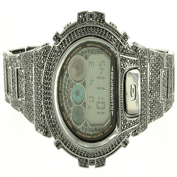 Para hombre Custom Iced Out negro simulado diamond funda nueva Digital g-Shock reloj: Amazon.es: Relojes