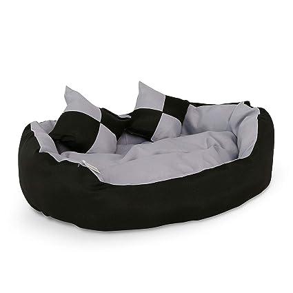 Dibea Lit Coussin Canape Lavable Avec Coussin Reversible Pour Chien Gris Et Noir 65 X 50 X 20 Cm