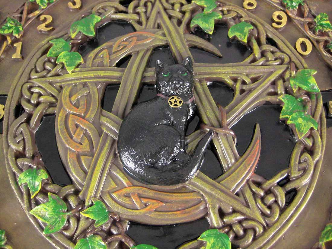 Fantasy Gifts Resin Occult Fortune Telling Toys Black Cat Crescent Moon Pentacle Glass Top Board 13.5 X 13.5 X 2 Inches Multicolored Model # 2034