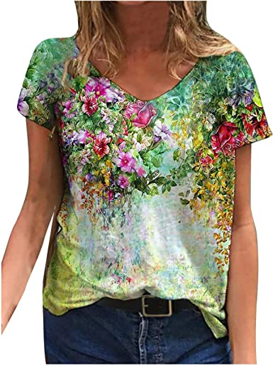 Womens Top Fashion T-Shirt Floral Pullover Tops Blouse Short Sleeve Casual Loose