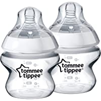 Tommee Tippee 150ml Newborn Baby Feeding BPA-free Bottle with Slow Flow Teat, Clear
