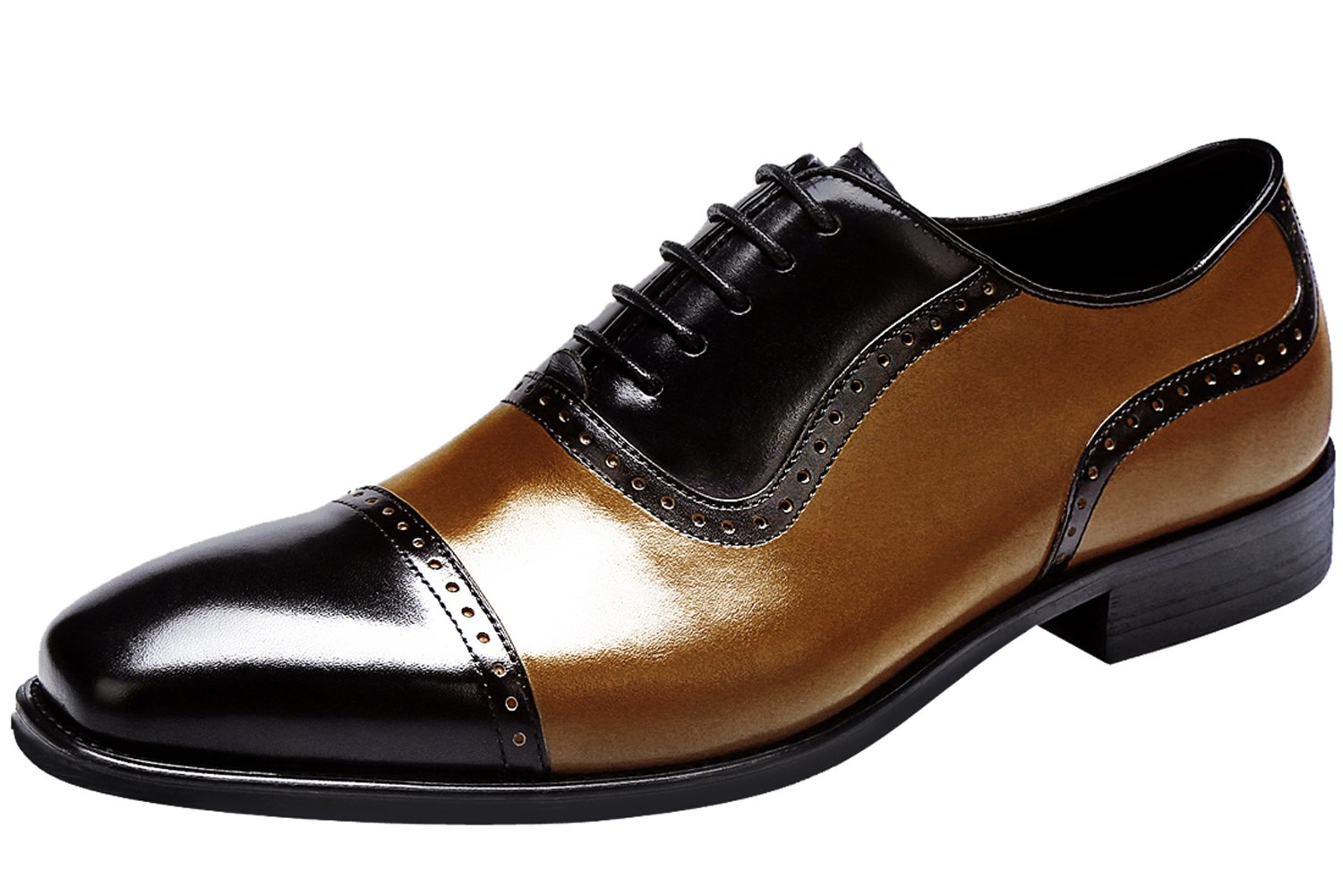 Santimon Dress Shoes for Men Captoe Leather Splice Two Color Handcrafted Black and Tan Oxfords by 9 D(M) US