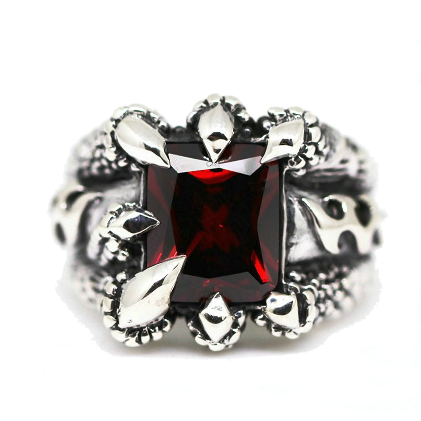 Bishilin Rings for Men Silver Plated Paw with Rectangle Red Gem Partner Rings Silver Size 10 by Bishilin (Image #6)